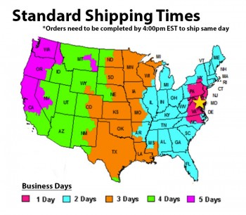 standard light rental shipping times by location