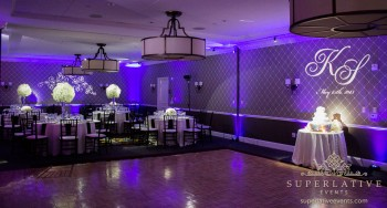Hotel monaco alexandria va purple uplighting for a wedding