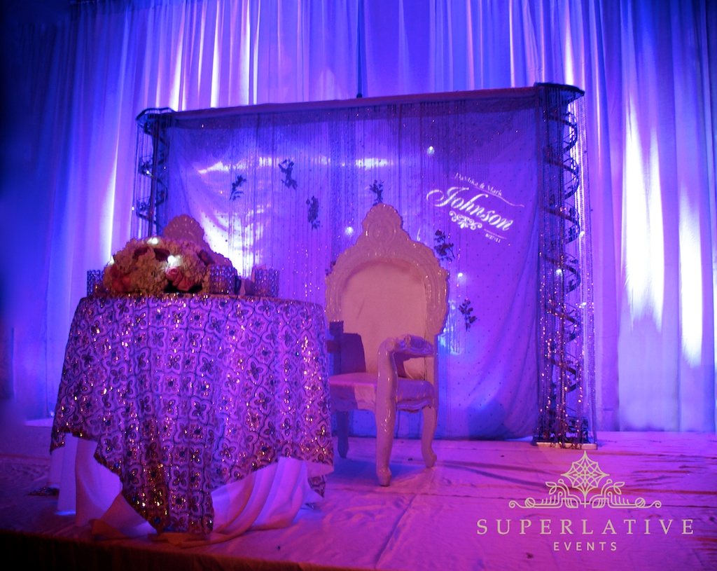 purple uplighting monogram lighting under table lighting