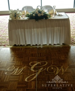 fort belvoir officers club wedding lighting monogram light dancefloor
