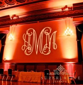 rental wedding lighting monogram and uplights in gettysburg hotel ballroom