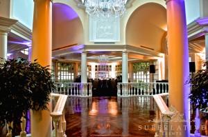 fairmont hotel amber and purple uplighting with monogram light