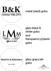 metal, glass, plastic gobos and types of gobos