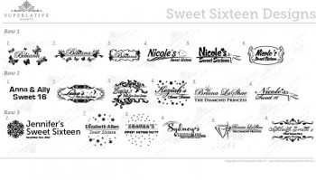 sweet sixteen monogram logo design for birthdays gobos for birthdays