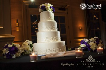 cake spotlight with amber uplighting