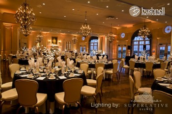 army navy country club wedding reception lighting