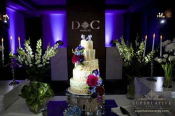 cake spotlight with purple uplighting