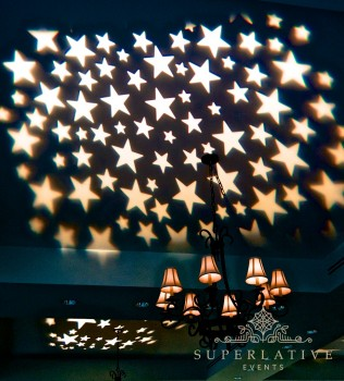 Stars projected on the ceiling with gobo lighting