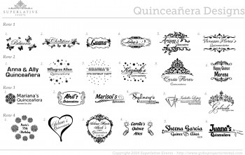 Quinceañera gobo and monogram samples