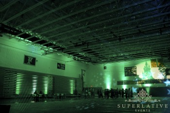 st. patricks day green lighting in a school gym