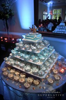 Beach themed cupcake display with starfish