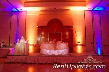 wireless uplighting with blue and amber uplights
