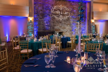 peacock inspired wedding lighting