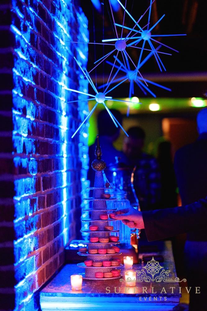 food display with blue uplighting up lighting ideas