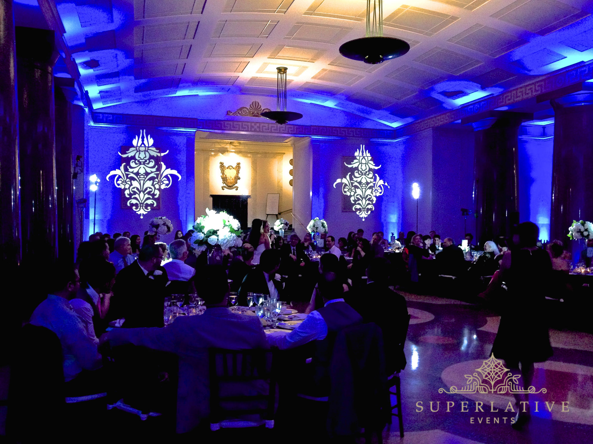 Damask Texture Lighting With Blue Uplighting Gobo